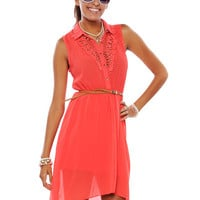 Papaya Clothing Online :: BELTED LACE STUD BUTTON DRESS