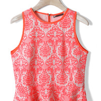 Baroque Print Peplum Top in Neon Pink