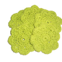 Lime Green  - Face Flower Wash Cloths ... mini size ... Set of 5 ... 100 percent cotton