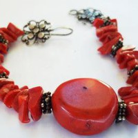 Coral bracelet  by JewelryStatements on Zibbet