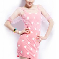 Mesh Overlay Polka Dot Dress - OASAP.com