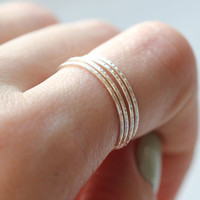 Stacking Ring : Spiral Ring, Hammered Texture, Set of 4, Skinny Rings, Thin Rings, Set, Sterling Silver Plated, Midi Ring, First Knuckle
