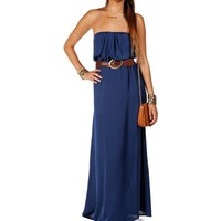 Blue Belted Maxi Dress