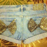 Golden Sequin Bow Shorts  by AngeliqueMerici on Etsy