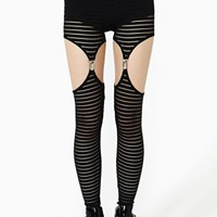 Mesh Stripe Garter Leggings