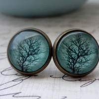 Aqua Tree Post Earrings in Antique Brass | WearitOut - Jewelry on ArtFire
