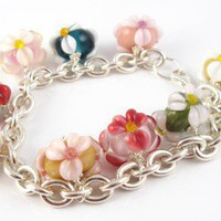 Flowers, lampwork beads sterling silver bracelet | BabsBeadsandDesign - Jewelry on ArtFire