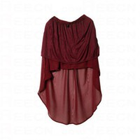 Anomalous Hem Lightweight Wine-red Skirt - Skirts - dressmall.com