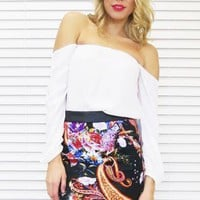 Skirt Oriental Angle in Black Floral