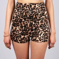 Leopard High Waist Shorts | Retro Shorts at Pink Ice