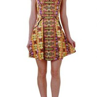 Floral Mirror Print Satin Fit and Flare Dress with High Neck