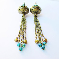 Boho Gypsy Filigree Orb and Chain Tassel Teal & Gold Earrings