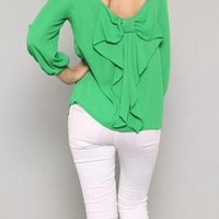 Emerald Green Bow Back Blouse with Three Quarter Sleeves