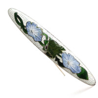 Antique Edwardian Guilloche Bar Pin Brooch - Gold Shell Over Silver Art Nouveau Jewelry / Blue Flowers on Green Vine