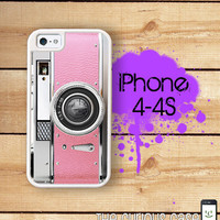 iPhone 4 4S Mighty Case - 2 Part Protective iPhone 4 Case  iPhone 4S Case - Pink Vintage Camera Case