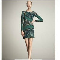 Emilio Pucci Keyhole Printed Maxi Green Dress - Pucci Sleeve/Knee Dress