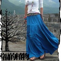 Light Blue Casual Cotton Big Sweep Skirt -NC045 | StylishLife - Clothing on ArtFire