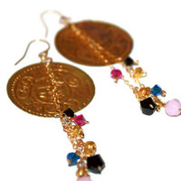 haud pretium - gold coin earrings by lilla stjarna - 14k gold - gifts under 50 - dangle earrings, statement earrings
