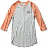Unisex Heather Orange Raglan Henley | TOMS.com