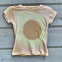 Woman's Small Tan & Green Dyed Galaxy Solar Eclipse Shirt