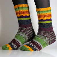 Very beautiful hand knitted Wool socks. Size - small US W 6.5-7, EU 37 - 37.5