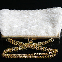 SALE - Vintage White Beaded Purse - Designer La Regale Bridal Gold Tone Strap Cocktail Bag / Elegant Accessory
