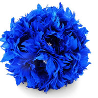 Wedding Bouquet, Bridal Bouquet, Feather Bouquet, Brooch Bouquet, Peony Bouquet, Cobalt, Blue, Rhinestone, Pearl, Elegant Bouquet