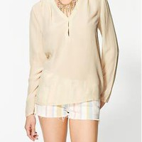 Sabine Long Sleeve Silk Blouse | Piperlime