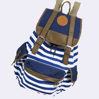 Tobey Black Canvas Backpack School Bag Super Cute Stripe for School Laptop Bag Waterproof Four Color Available