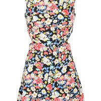 Cut Out Sides Floral Dress in Multi Color