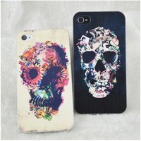 Unique Flower Skull Painted For Iphone4/4S/5