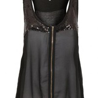 Sequin Detail Chiffon Front Top in Black