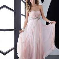 Cheap Strapless Fuchsia Column Floor-length Prom Dress with Jewel On Sale