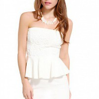 Lace Bust Strapless Peplum Dress in Ivory