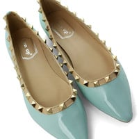 Rockstud Ballerina Flats in Mint Green