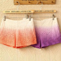 Hollow out lace gradients recreational shorts