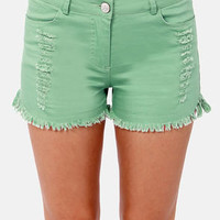 Jagged Little Twill Distressed Sage Green Shorts