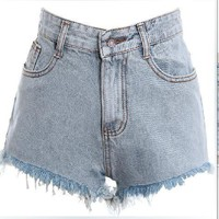 coolstyle — Vintage wash do old flash high-waisted denim shorts