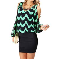 Mint/Navy Chevron 2fer Dress