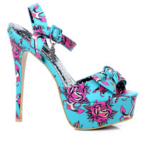 Love Me Now Turquoise Print Peep Toe Pump - Unique Vintage - Prom dresses, retro dresses, retro swimsuits.