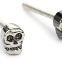 "Bing Bang ""Memento Mori"" Tiny Gunmetal Skull Stud Earrings"