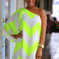 Wild Wide One Shoulder Chevron Dress: Neon Yellow | Hope's