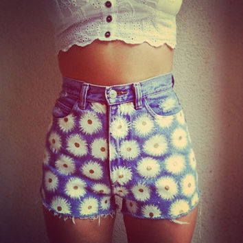 Daisy High Waisted Denim Shorts