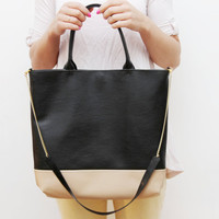 DUEL/ Convertible leather  colorblock tote