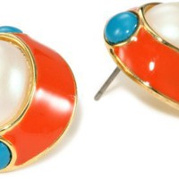 "Carolee ""Brighten Up"" Gold-Tone Turquoise-Color Color Oval Cab Earrings"