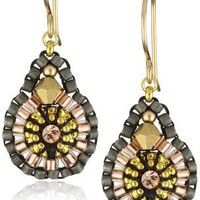 Miguel Ases Swarovski and Rose Gold Beaded Mini Tear Drop Earrings