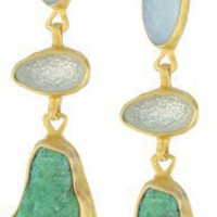 "Heather Benjamin ""Elegant Earth"" Triple Druzy and Turquoise Earrings"