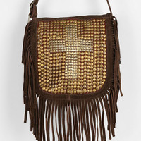Ecote Sequin Cross Suede Fringe Crossbody Bag