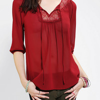 Pins And Needles Lace Bib Tie-Neck Blouse