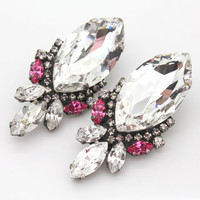 Rhinestone Statement stud earrings - Oxidized Silver plating Swarovski earrings